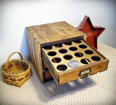 Anyway, I thought I'd add some recent projects that I've completed. This is a K-Cup storage crate I made for my Daughter. K Cup Storage, Coffee Pod Storage, Crate Storage, Coffee Bar Home, Coffee Corner, Carpenter Bee Trap, Bee Traps, K Cup Holders, Diy Kitchen Storage
