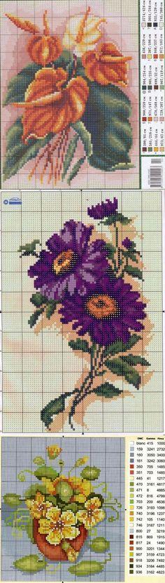 Схемы для вышивки: разные экзотические цветочки / Схемы / Бусинка