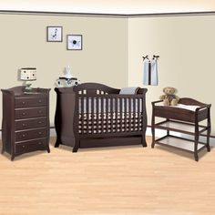 Storkcraft Espresso Vittoria 3 in 1 Convertible Crib, Aspen Changing Table with Drawer and Aspen 5 Drawer Dresser 3 Piece Nursery Set FREE SHIPPING