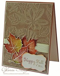 handmade card from Couture Creations ... autumn leaves ... like the inking on the leaves embossing folder to make the design show up better ...stamped and diecut leaves ... kraft base ... fun sentiment ...