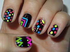 Black with neon nail art from Pretty in Polish! :)