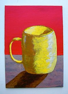 "The Morning Cup of Coffee (ORIGINAL ACRYLIC PAINTING) 5"" x 7"" by Mike Kraus coffee mug cup of coffee still life sunrise brown painting blue design purple artwork kitchen table home decor colorful red highlights yellow shine kitchen 23.99 USD #goriani"
