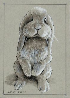 ACEO Original Cuddly Bunny rabbit animal pets lop-eared begging gray #Impressionism