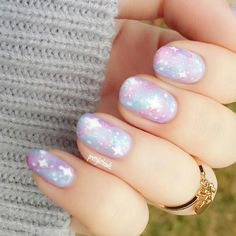 Pastel Galaxy Nails - nail art - manicure