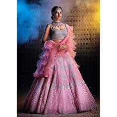 Banglori silk Heavily embroidered with threads and zari #Semistitched #Lehengacholi Lehnga Dress, Lehenga Choli, Best Blouse Designs, Bridal Lehenga Collection, Indian Skirt, Designer Bridal Lehenga, Indian Gowns Dresses, Saree Look, Indian Wedding Outfits