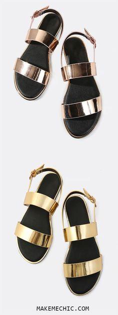 Open Toe Double Band Metallic Sandals