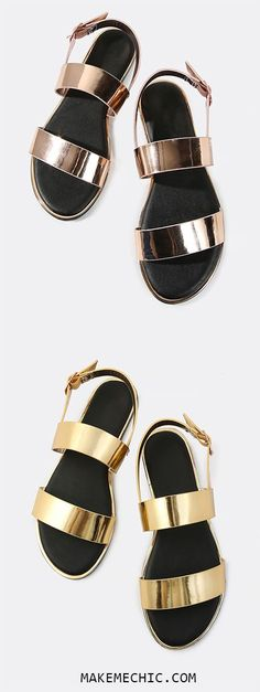 Open Toe Double Band Metallic Sandals