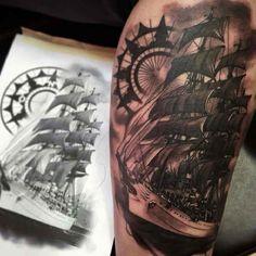 Tattoo sailing ship and compass #Tattoo, #Tattooed, #Tattoos