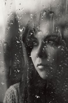 365 photo challenge 2014 - Day 26 - 365 Day Project - Photographer Sarah Wearn - Rain window droplets, self portrait, moody black and white, melancholy, pretty, lonely, woman.