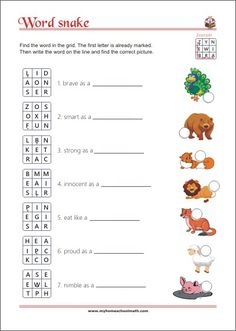 Word snake - animal idioms - reading game for children Letter Worksheets, Kindergarten Worksheets, Learning Numbers, Learning Letters, English Worksheets For Kids, Reading Games, Pre Writing, Learning Colors, Alphabet