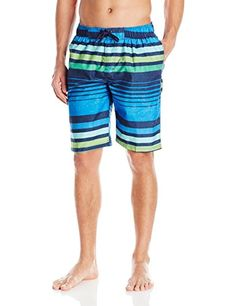 Kanu Surf Mens Echo Stripe Swim Trunks Blue Medium <3 Offer can be found by clicking the VISIT button