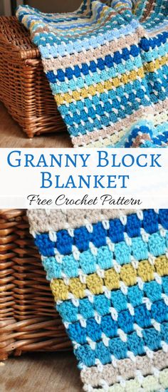 Free crochet pattern for this darling granny block blanket. Ideal for beginners #grannyblanket #ad #crochet #pattern #free