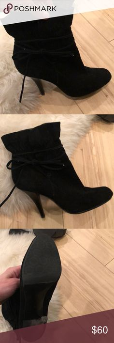 Black, Suede Ruffle Tie Bootie Black, suede upper, manmade sole  SUPER CUTE and SEXY!   I had them re-soled since they were too slippery but since have developed Morton's Nueroma in my foot and can't wear shoes like this anymore. :( Calvin Klein Shoes Heeled Boots