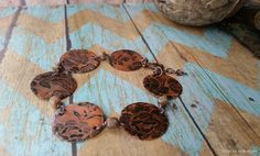 Copper with Lace Etched Bracelet by EclecticRedesigns on Etsy Jewelry Design, Copper, Lace, Bracelets, Silver, Etsy, Money, Racing, Bracelet