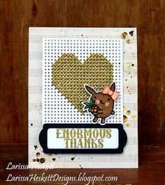 Enormous Thanks card by Larissa Heskett for Paper Smooches - Cross Stitch Die, Pineapple Crush stamps and dies, Huge Hugs, Bookplate Dies