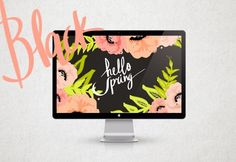 Free desktop background with black background and floral pattern from Cocorrina.