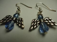 Swarovski Dangle Earrings Angels Blue by Shabyas on Etsy