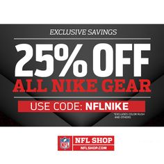 NFL Shop : 25% off Everything Nike  http://www.mybargainbuddy.com/nfl-shop-25-off-everything-nike