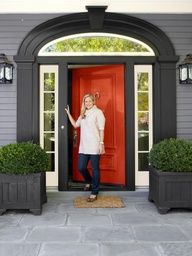 black house white trim red door - Google Search