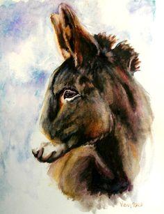Items similar to Donkey art print on Etsy Wildlife Paintings, Animal Paintings, Barnyard Animals, Farm Art, Rabbit Art, Animals And Pets, Wild Animals, Watercolor Animals, Horse Art