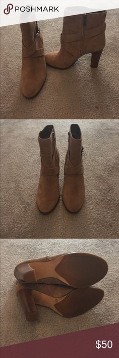 NW Vince Camuto suede booties Never worn Vince Camuto light brown suede booties with zipper with buckle detail and 4 inch heel Vince Camuto Shoes Ankle Boots & Booties