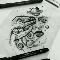 Space Drawings, Dark Art Drawings, Pencil Art Drawings, Art Drawings Sketches, Tattoo Sketches, Cool Drawings, Tattoo Drawings, Bild Tattoos, Cute Tattoos