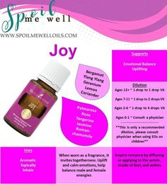 How to use Joy Essential Oil The aroma of Joy™ invites a sense of romance, bliss, and warmth when diffused. When worn as a fragrance, it invites togetherness. How do I use Joy? Dilute 1 part essen…