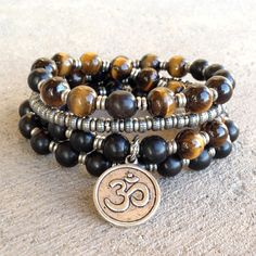 Strength and prosperity, ebony and tigers eye 54 bead wrap mala bracel – Lovepray jewelry