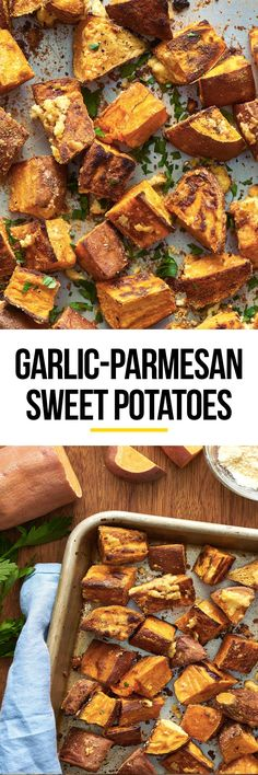 Roasted Garlic Parmesan Sweet Potatoes Recipe.  This vegetarian side dish is easy and baked. To enjoy this healthy deliciousness, you'll need medium sweet potatoes, olive oil, kosher salt, fresh ground pepper, garlic and grated Parmesan cheese.