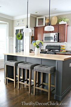 25 best Eva schneeburg images on Pinterest   Arquitetura  Home ideas     Counter bar stool DIY Kitchen Island Remodel   several years in the making   But the final product was totally worth the work