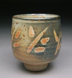 Yunomi Tea Cup Glazed with Wax Resist Carbon Trap Shino