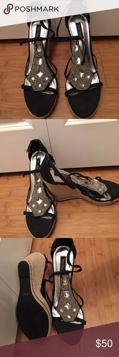 Never worn White House Black Market wedges/sandals Never worn jeweled WHBM wedges ...Stunning detail and craftsmanship. White House Black Market Shoes Wedges