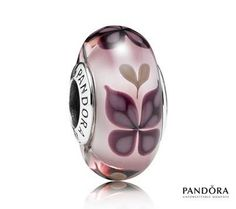 Pandora Pink Butterfly Kisses Murano Glass Charm