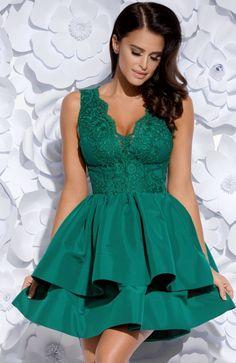821819d439 Bicotone 2126-13 sukienka zielona Przepiękna rozkloszowana sukienka