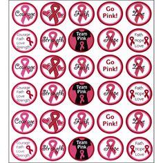 """1"""" Bottle Cap Image Pack: Go Pink"""