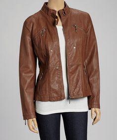 Cognac Zipper Motorcycle Jacket