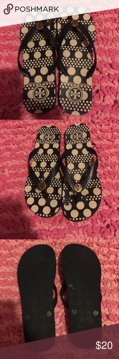 Tory Burch flip flops Tory Burch blue and white polka flip flops. Size 9. Shoes