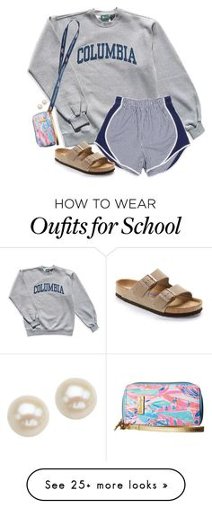 """""""I love this outfit & idk why"""" by aweaver-2 on Polyvore featuring Columbia, Birkenstock, Lilly Pulitzer and Honora"""