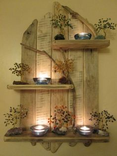 Ted's Woodworking Plans - Amazing Natural Driftwood Tall Shelves Solid Rustic Shabby Chic Unique Artwork in Home, Furniture DIY, Furniture, Bookcases, Shelving Storage Rustikalen Shabby Chic, Muebles Shabby Chic, Shabby Chic Furniture, Diy Furniture, Furniture Projects, Furniture Plans, Furniture Makeover, Wooden Wall Shelves, Pallet Shelves