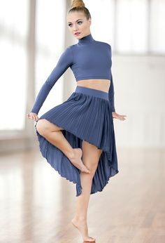 Pleated High-Low Skirt