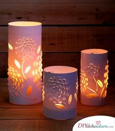 Re-purpose Glass Into Unique Lanterns - Free Pattern Included. These blossom lanterns / candle holders are made from 3 things everyone has – old drinking glasses or vases, paper, and candles. Lantern Candle Holders, Candle Lanterns, Candles, Star Lanterns, Kirigami, 3d Paper, Paper Crafts, Decor Crafts, Diy Crafts