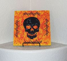 Screaming Skull/Flames/Barbed Wire Flagstone Painting By Elissa Shakal W/Easel #NA