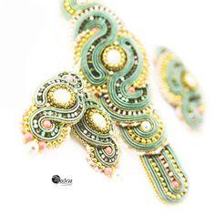 Ingeborg: Soutache jewelry set - earrings, bracelet, brooch