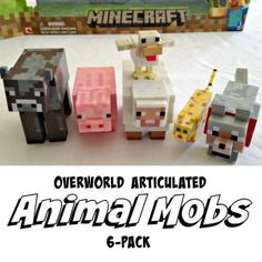 Minecraft Animal Mob Playset - Minecraft cow, pig, sheep, duck, ocelot and wolf in one action figure pack. Cool Toys For Boys, Toys For Girls, Kids Toys, Children Crafts, Tween Boy Gifts, Gifts For Boys, Minecraft Toys For Kids, Best Christmas Toys