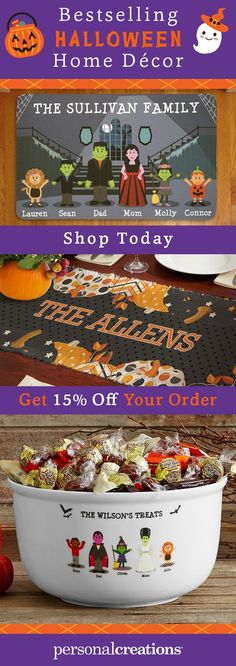 Cast a cute spell with personalized Halloween home decor that family, friends, and trick-or-treaters will love. Get 15% off your order today.