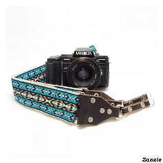 Teal Jacquard Handmade Camera Strap w/Leather Ends,made by Feedback Straps