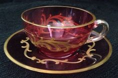 MOSER-CRANBERRY-CUP-SAUCER-1920s-Gold-Rimmed-CRYSTAL-BEAUTIFUL