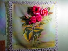Carpeta para mesa. Rosa armada, pintura textil