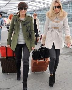Love this coat and love her style!  Molly King. The Saturdays arriving in Dublin airport for their show in Dublin.