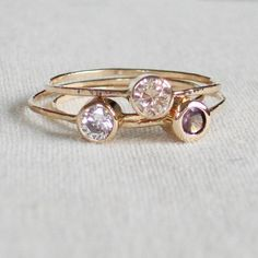 Choose Three Stones Solid 14k Yellow or White by MARYJOHN on Etsy